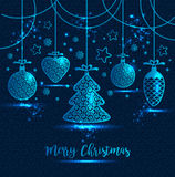 Поздравительная открытка ` s Нового Года с Рождеством Христовым Яркие игрушки ` s Нового Года Стоковое Изображение RF