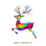 Поздравительная открытка Xmas с красочными оленями на белой предпосылке Стоковое Изображение