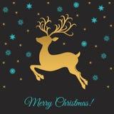 Поздравительная открытка Xmas с оленями и снежинками золота Стоковое Изображение RF