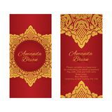 2 поздравительной открытки в восточном стиле на красной предпосылке Стоковые Фото