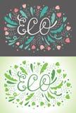 Поздравительные открытки литерности ECO Иллюстрация вектора