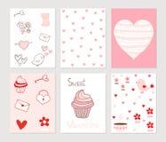 Поздравительные открытки или примечания в пинке и красном цвете Бесплатная Иллюстрация