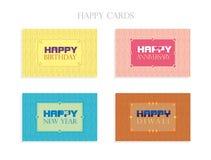 Поздравительные открытки - счастливые карточки Стоковое Изображение RF