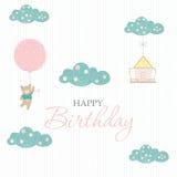 Поздравительые открытки ко дню рождения, плакат, шаблон, поздравительные открытки, помадка, воздушные шары, животные, иллюстрации Стоковое Изображение RF