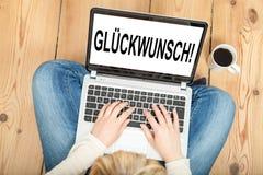 Поздравление (в немце) Стоковые Изображения