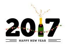 Поздравления к счастливому новому 2017 год с бутылкой шампанского, флаги иллюстрация вектора