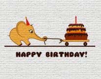 Поздравления к с днем рождениям для ребенка Граффити на белой кирпичной стене Икра слона шаржа с тортом и одной свечой иллюстрация штока
