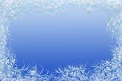 поздравления предпосылки голубые обрамляют естественную зиму текста космоса снежка Естественная морозная картина Стоковое Изображение