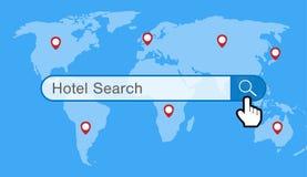 Поисковая система гостиницы с картой мира и значком gps Стоковое фото RF