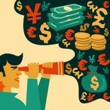 Поиск денег, финансовые символы иллюстрация штока