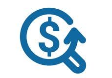 Поиск и извлечение увеличителя процесса денег метафоры значка Время искать доллары Стоковые Изображения RF