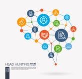 Поиск работы, головное звероловство, мы нанимаем, значки вектора дела команды интегрированные работой Идея мозга сетки цифров умн бесплатная иллюстрация