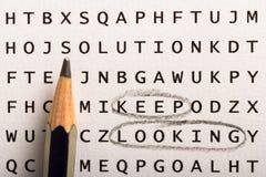 Поиск слова, головоломка Концепция о находить, держит посмотреть, persis стоковые фото