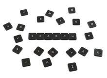 Поиск слова сделанный из изолированных кнопок клавиатуры Стоковое Изображение RF
