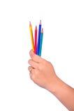 Покажите карандаш в руке Стоковая Фотография RF