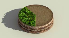 Покажите около 40 процентов круговой диаграммы, диаграммы Элементы Eco Infographic с деревьями, листьями, землей и травой иллюстрация штока