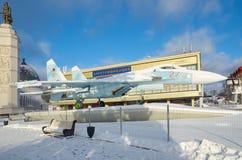 Покажите самолет SU-27 на VDNKH, Москве, России Стоковые Фотографии RF