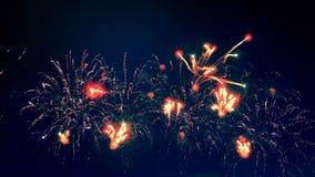 Показанные фейерверки освещают ночное небо акции видеоматериалы