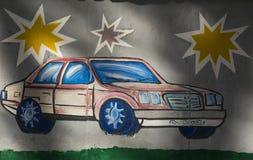 Показанный автомобиль на стене стоковое фото rf