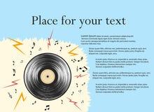 Показатель винила r Иллюстрация конспекта вектора в ретро стиле, с музыкальными примечаниями с космосом для текста иллюстрация штока