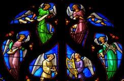 Показывать витража ангелы choir, в соборе Стоковая Фотография RF