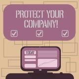 Показывать знака текста защищает вашу компанию Схематическое фото поддерживая положительную репутацию установленного компанией эк иллюстрация вектора