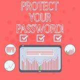 Показывать знака текста защищает ваш пароль Схематическое фото защищает информацию доступную через сочетание из цифров компьютеро иллюстрация штока