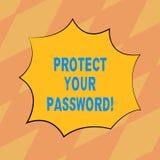 Показывать знака текста защищает ваш пароль Схематическое фото защищает информацию доступную через компьютеры прикрывает взрыв цв иллюстрация штока