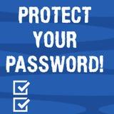 Показывать знака текста защищает ваш пароль Схематическое фото защищает информацию доступную через пробел компьютеров геометричес иллюстрация вектора