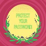 Показывать знака текста защищает ваш пароль Схематическое фото защищает информацию доступную через компьютеры прикрывает овал цве иллюстрация вектора
