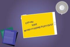 Показывать знака текста расширяет ваше изготовляя портфолио Схематическое фото делает более большой каталог из планшета продуктов иллюстрация штока