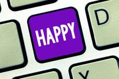 Показывать знака текста счастливый Схематическое довольство чувства фото или удовольствия показа о что-то персона стоковые изображения rf