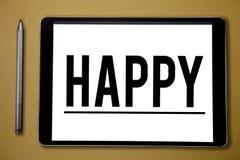 Показывать знака текста счастливый Схематическое довольство чувства фото или удовольствия показа о что-то персона стоковая фотография rf