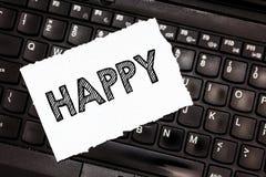 Показывать примечания сочинительства счастливый Довольство чувства фото дела showcasing или удовольствия показа о что-то персона стоковая фотография rf