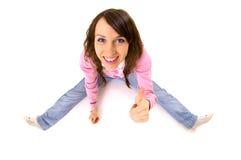 показывать thumbs вверх по детенышам женщины Стоковые Фото