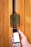 Показывающ как правильно смазать шарнир двери стоковое фото rf
