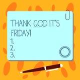 Показ знака текста благодарит бога оно s пятница Схематическое начало фото конца недели быть жизнерадостно наслаждается пустым кв бесплатная иллюстрация