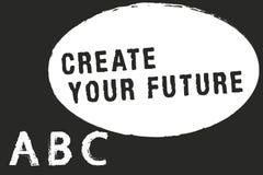 Показ знака текста создает ваше будущее Цели цели и карьеры схематического фото установленные планируют вперед достигают вне иллюстрация штока