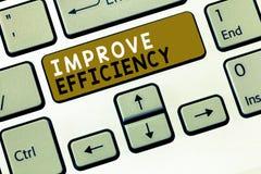 Показ знака текста улучшает эффективность Схематическая правомочность фото в представлении с наименьшим отходом усилия стоковые фото