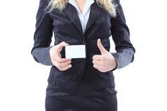показ карточки коммерсантки дела Стоковые Фотографии RF