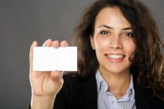 показ карточки коммерсантки дела Стоковое фото RF