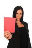 показ карточки коммерсантки красный Стоковые Изображения