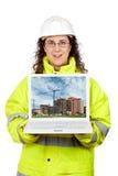 показ компьтер-книжки конструкции здания Стоковые Фотографии RF