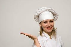 показ красивейшего шеф-повара предпосылки светлый Стоковые Изображения