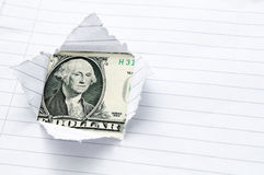 показ отверстия доллара бумажный сорванный нас окно Стоковое Фото