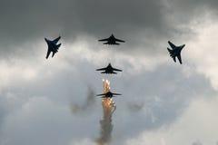 показ русского реактивных истребителей стоковые изображения rf