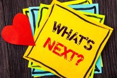 Показ текста сочинительства что следующий вопрос Концепция знача следующее наведение цели прогресса зрения плана на будущее напис Стоковые Фотографии RF