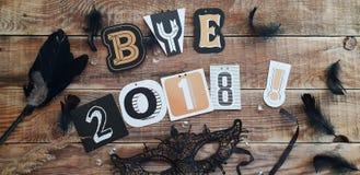 Пока 2018 год - прощание к старому году стоковое фото rf