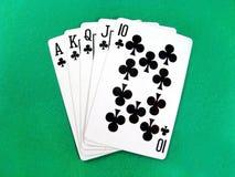 покер азартной игры карточек внезапный королевский стоковое фото
