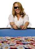 покер войлока обычных акции преуспевающих компаний нажимает женщину таблицы Стоковое Изображение RF